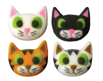 Edible Cat Sugar Pieces / Icing Pieces / Kitty Cat Sugar Pieces / Cat Cupcake Toppers / Cat Cake Toppers
