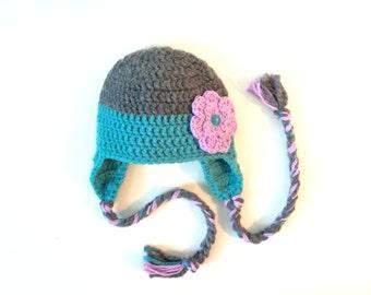 Crochet 6-12 mo Earflap Hat with Flower