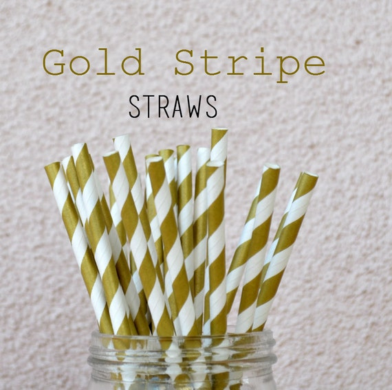 Striped Straws Paper Buy Gold Paper Straws 25 Striped