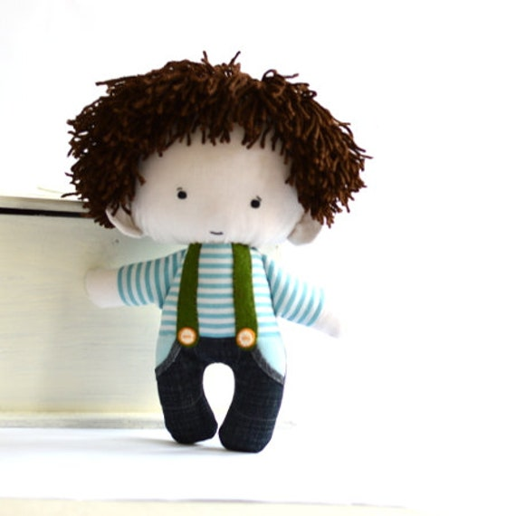 Boy rag doll toy handmade stuffed plushie with sewn hair white turquoise striped shirt navy blue denim jeans with pocket 11 inch 27 cm