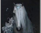 Horse Art Acrylic - Print Animal Horse Spring Home Decor Illustration, black, Wall Decor, Wall hanging Wall Art Print