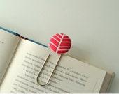 Large Paperclip Bookmark. Hot Pink Herringbone. Teacher Gift. Graduatuon Gift. Ready to Ship.