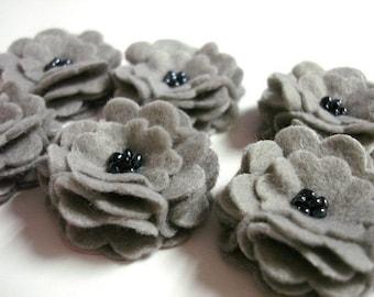 Set of 6pcs handmade felt flower - gray (SCF)