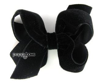 "Black velvet hair bow, 3"" hair bow, Christmas hair bow, girls hair bows, baby hair bow, velvet hair clip, boutique bows, classic 3 inch clip"