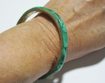 Malachite Bangle Bracelet Vintage Natural Green Stone Bracelet. free shipping