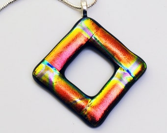 Dichroic Glass Pendant Orange Blue Gold Necklace