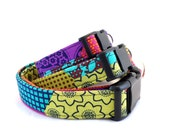 Bohemian Patchwork Dog Collar, Colorful Dog Collar, Girly Dog Collar, Dark Colored  Dog Collar, Patchwork Design (Leash Available)