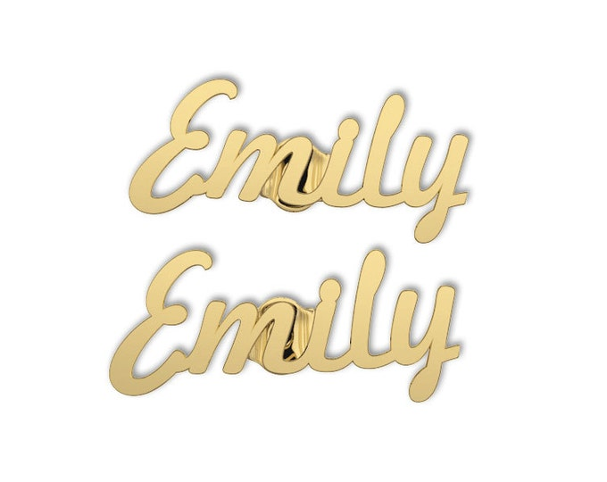 Name Earring -10K Gold Personalized Earrings - Gold Name Earring- Name Stud Earrings - Bridesmaids Gift- custom name earrings