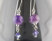 Purple Garden Lampwork Glass Earrings