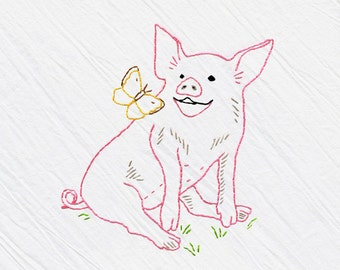 Pig, Tea Towel Embroidery Kit, Pink Pig, Pig Sewing Kit, Beginner Embroidery Kit, DIY Sewing, Hand-Stitching - Heidi Boyd