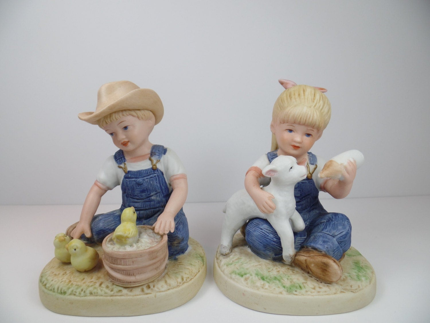 Vintage Homco Denim Days New Beginnings Figurines Homco