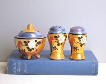 Vintage lusterware condiment set - Japanese peach lusterware - salt and pepper - bird and flower pattern