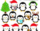 Christmas Penguins Clipart Set - clip art set of penguins, holiday penguins, hats - personal use, small commercial use, instant download