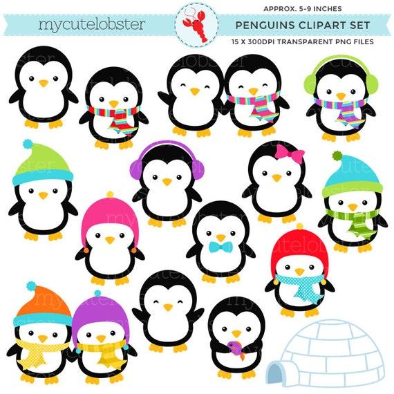 Penguins Clipart Set clip art set of by mycutelobsterdesigns