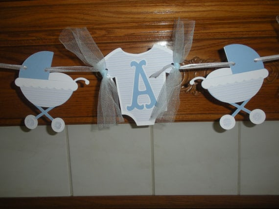 Onesies Baby Boy Banner, It's A Boy Baby Banner, Gender Reveal Baby Buggy shower Banner, Blue Baby Banner, Matching Poms Are Available