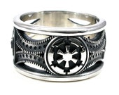 Mens Silver Star Wars Ring - Imperial Cog and Death Star