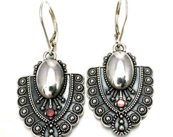 Etruscan Sterling Silver Shield Earrings with Red Diamonds - Dangle Hook Earrings