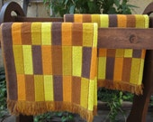 Set of 3 Retro Sears Drylon Large Bath Towels - Orange, Brown & Gold