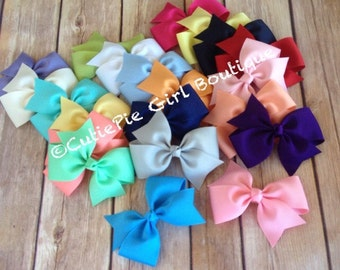 Girls Hair bow set 5, 10, or 20 bows, small bow, baby bow, toddler bow, hand sewn bow, half pinwheel bows