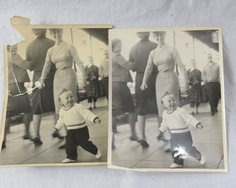 Vintage 1950's  8x10 Photo of a Cute Little Baby Boy Dressed Up and Smiling with his Mother
