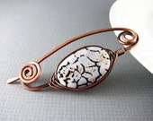 Shawl Pin Copper And Agate Scarf Pin Sweater Pin Hand Forged Fibula Wire Wrapped Jewelry Brown Brooch Copper Jewelry