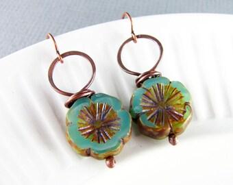 Copper Earrings Wire Wrapped Earrings Turquoise Earrings Copper Czech Picasso Earrings Wire Wrapped Jewelry Copper Jewelry Hoop Earrings