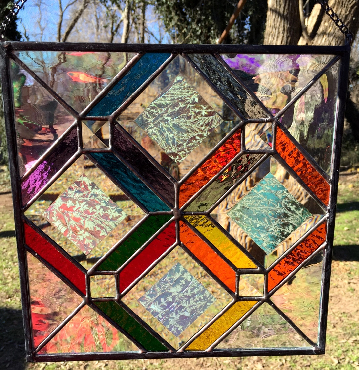 Stained glass panel contemporary colorful geometric dichroic for Contemporary stained glass