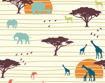The Plains HALF YARD Serengeti JayCyn Birch Organic Fabrics Wildlife Outdoors Elephants Blue All Natural