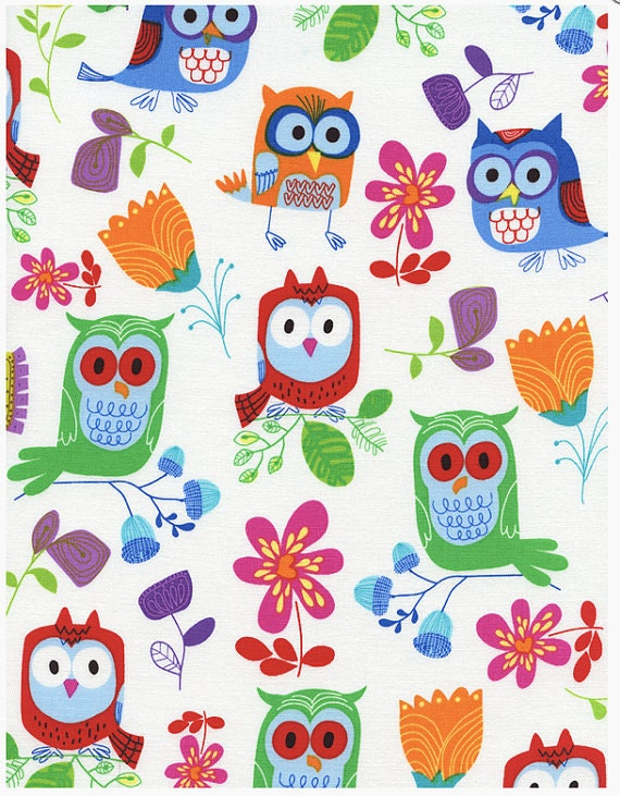 Sale owl fabric owl be seeing you timeless treasures for Bright childrens fabric