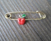 Vintage Enamel Red Apple Small Gold Tone Pin/Brooch Safety Pin Style Childs/Kids/Little Girls 1960s to 1970s NOS Fruit