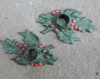 Vintage Green and Red Candlestick Holders Cast Iron Set 1920s Metal Holly and Holly Berries Pair 1921 Leaves Rustic