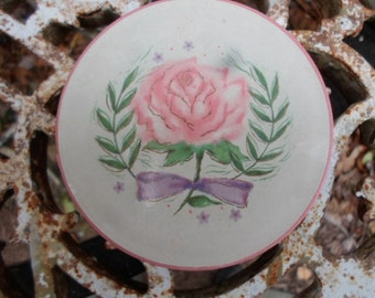 Vintage 1950s Goubaud de Paris Fifth Avenue New York  Face Powder Cardboard and Plastic Container Vanity Pink Rose Green and Purple