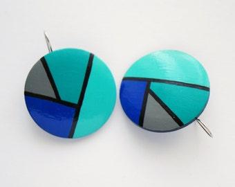 XXL Dangle - Hand painted geometrical earrings