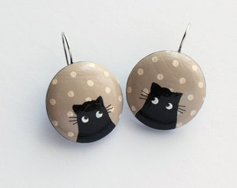 Hand painted Beige earrings with black cat