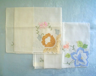 Two Unused Hankies with Colorful Flower Applique Vintage Handkerchief Set with Label