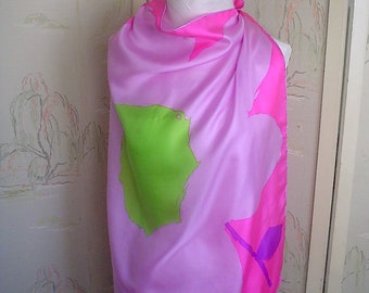 Giant Flower Silk Scarf with Bright Pink, Lavender and Lime 1960s Vintage Silk Scarf Square