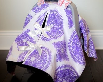"Baby Car Seat Canopy Cover with slit AND Nursing Veil / Nursing Cover - ""Suzani Stone"""