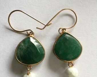 Green Onyx, White Silverite Gold Earrings, Jewelry, Lilyb444,