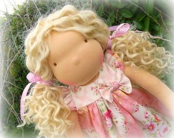 Waldorf doll- Steiner doll- handmade doll- cloth doll- natural fibre art dolls- waldorf toy by Debs Steiner Dolls.Deposit for march'17 doll