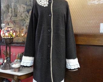 Long Sweater Coat,Upcycled Coat,Bohemian Coat,Upcycled Sweater,Wool Sweater Coat,Victorian Coat,by Nine Muses Of Crete.