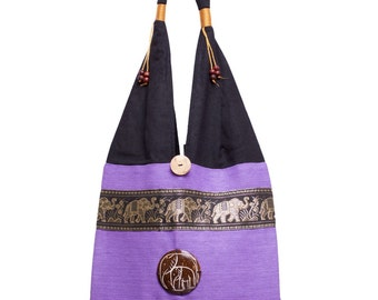 Elephant Parade Cotton Shoulder Bag Purse Hippie Hobo Ethnic with Elephant Carved Coconut Shell in Lilac Black or Green