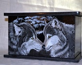 Hand Etched Cremation Urn  Black Granite Gray Wolf Two Hearts as One