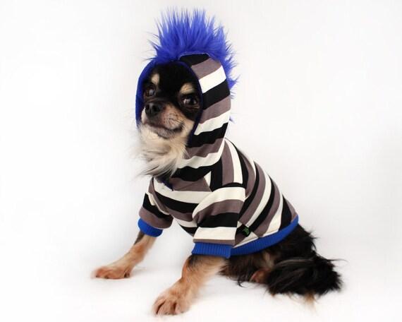 Dog Mohawk Sweater Dog Hoodie Blue Mohawk Striped