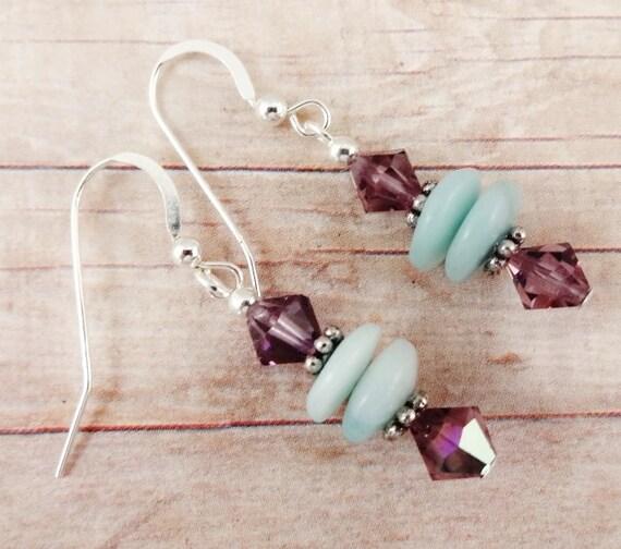 Amazonite and Crystal Earrings, Gemstone Earrings, Aqua and Purple earrings, Amazonite earrings, gemstone earrings, stone jewelry