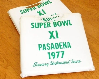 Vintage Superbowl Seat Cushions XI Pasadena California Excellent Condition Oakland RAIDERS vsMinnesota VIKINGS