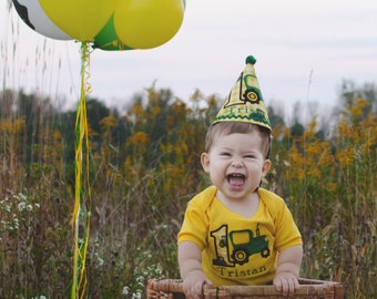 Boys First Birthday-boys 1st birthday-John Deere  gold or white onesie with M2M party hat.