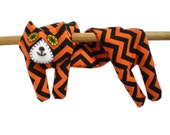 Neck Shoulder Microwave Heat Pack Cold Pack - Flat Cat Rice Heat Cold Pack Microwavable - Black & Orange Chevron Halloween Cat