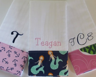 Personalized Monogrammed Burp Cloths - Baby Girl Set