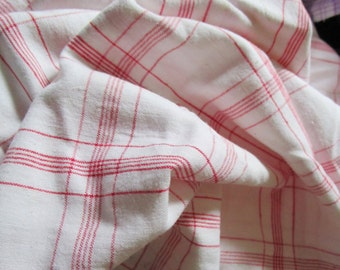Yardage Vintage French Red and White Check Gingham Suitable for Patchwork Quilting Lavender Bags Feedsack Pillow