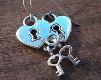 Titanium Earrings, Silver Padlock with Tiny Key on Hypoallergenic Titanium Ear Wires